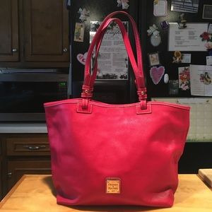 D&B RED Pebbled Leather Tote Shoulderbag
